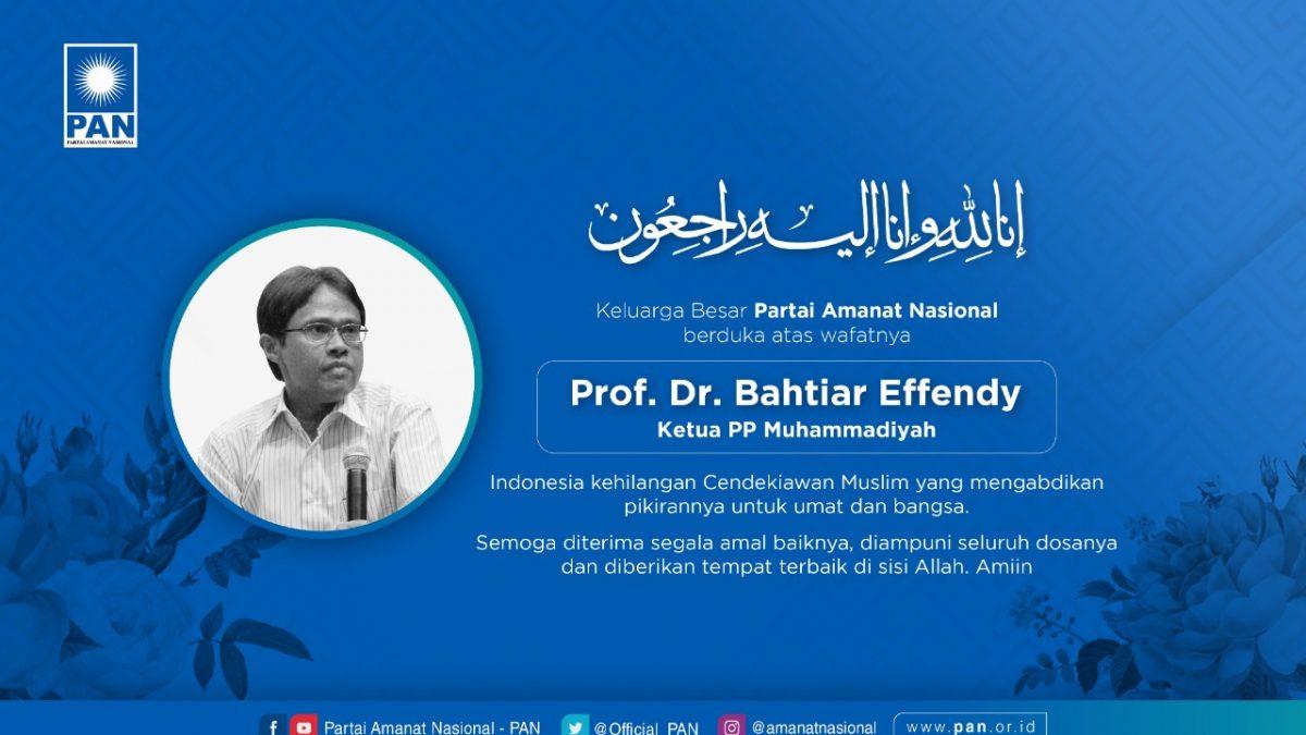 Keluarga Besar PAN Turut Berduka atas Berpulangnya Prof. Bahtiar Effendi